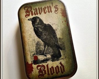 Ravens Blood - large pillbox tin / stash case
