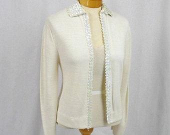 60s Cream Cardigan * 1960s Cardigan * Sequin Cardigan * Acrylic Sweater * Cream Sweater * 1960s Sweater * Pela