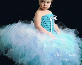 Princess Aquamarine, Almost Blush Pink, and White Poofy Over the Top Tutu Ensemble with Hand crochet Top for Birthday, Pageants, Photography