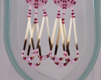 Beaded Porcupine Quill Earrings - Round Lightweight Beadwork Earrings - Seed Bead with Fringe Pink Earrings