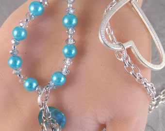 24 Inch OOAK Pearl Necklace - Asymmetrical Beaded - Blue & Silver - Crystal Point - Trendy - Recycled ReUsed Vintage - Open Heart