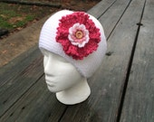 Knit Headband, Headband with Flower,  Ear Warmer Headband, Ski Accessory, Flower Headband, Adult Headband