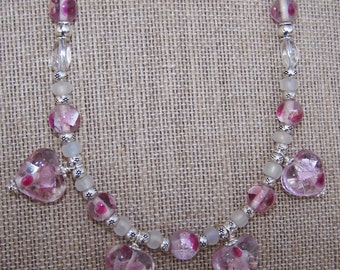 Pink glass beaded heart necklace and earring set