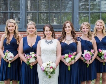 Navy Blue Convertible Bridesmaid Dresses