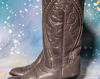 Tall Cowboy Boots Women's Size 6 .5  Gray DAN POST