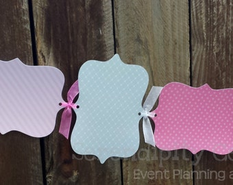 Photo Banner- Elephant -1st Birthday -Baby Shower -Pink Grey-Personalized -Monthly Photo Banner -Made to Match -Photo Prop -Party Banner