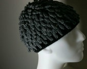 Nudu hat African Bamileke Billy Gibbons inspired Beanie dreadlocs chemo ski wig hat couture millinery (Slate Gray color shown)