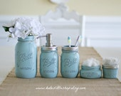 Mason Jar Bathroom Kit. Bathroom. blue. Farmhouse Decor. Rustic Home Decor. Quart Size Mason Jar. Mason Jar Soap Dispenser. Wedding Gift.