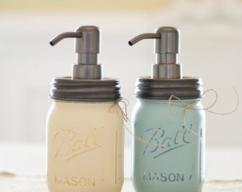 Mason Jar Soap Dispenser. Painted Mason Jars. Mason Jars. Rustic. Bathroom. Kitchen. Soap Dispensers. Shabby Chic. Home Decor.