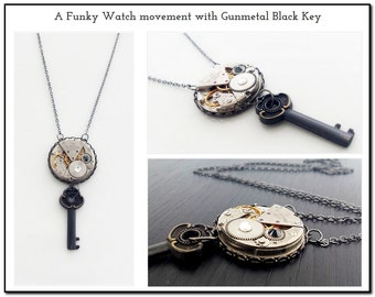 A Funky Watch movement with Gunmetal Black Key - Steampunk Inspired Timeless Relic