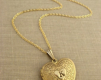 Personalized locket necklace Heart initial necklace Mothers gift Teacher gift Girlfriend Gold tone brass MEDIUM Bridesmaid gift Engraved