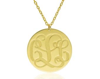 Monogram Necklace SALE 0.8 inch- 14k gold filled  Personalized Necklace Monogrammed Necklace bridesmaids gift