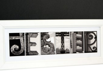 Framed Letter Art Name with Architecture from original Alphabet Photograph for Personalized Gift, Anniversary, Baby Name, Wedding or Office