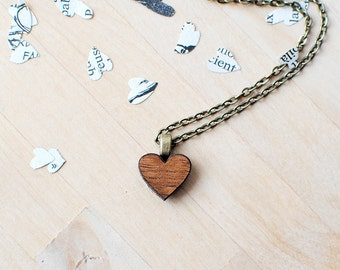 Wooden Heart Necklace | Valentines Gift Idea | Nickel Free