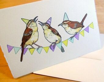 Wren Party 4x6 Notecard