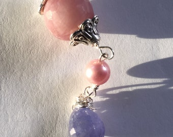 EAD2015, Pink Tourmaline, Pink Pearl, Tanzanite Silver Earring, Lilyb444, Jewelry,
