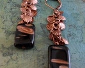 Antiqued COPPER & Black SHELL Charm Beaded Drop EARRINGS // Art Glass // Unique // Gift for Her // Gift Boxed