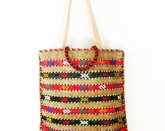 Vintage Tote Kilim Bag Woven Textile Wool with Leather Handles