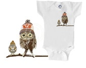 Organic owl onesie / bodysuit / creeper, owls wearing Cowichan knits