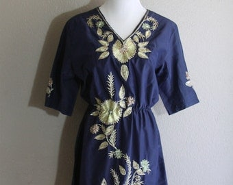 navy dress with floral sequin embroidery- handmade- casual and party perfect- sale