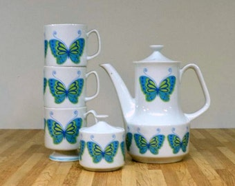 Mid Century Mod Butterfly Teapot Vintage Coffee Pot Turquoise Blue Green Ceramic