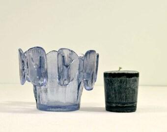 Vintage Viking Glass Candle Holder Violet Purple Finnish Crown Style