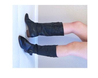 vtg 80s black TALL woven BUCKLE BOOTS 10 knee high flat riding pirate leather boho heels hippie