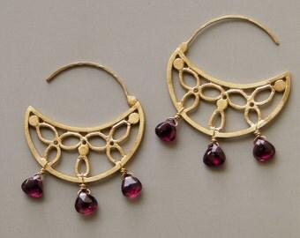 Crescent Earrings in 18k Gold with Garnets . Sahar Earrings . Gold Hoop Earrings . Garnet Hoops . Fine Jewelry . Gold Flower Earrings