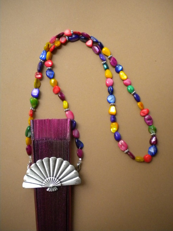 Hand Fan Holder Necklace Chain Multicolored Shell Chip Beads CHOOSE OPTIONS