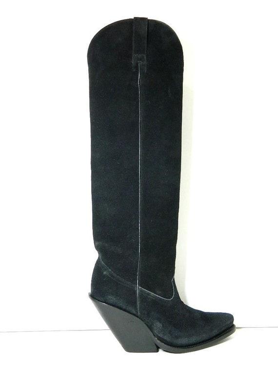 cowboy boots 22 inches suede black leather size 10 in