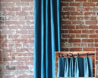 "120"" Solid Panel with Euro Pleat - Extra Long Custom Curtains - french pleat curtains - You Pick The Color - custom drapes"