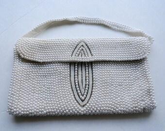 VINTAGE HANDMADE PURSE Beaded Bag| Vintage Wedding White Clutch| Vintage Small White Beaded Purse|White Wedding Purse