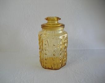 Gold Glass Canister Jar / Vintage 1970s Retro Harvest Gold Glass Kitchen Canister Cookie Jar