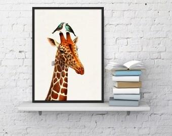 Summer Sale Honeymoon Giraffe collage Print- Love birds art- Love wall art- Wedding gift art Nursery Art and collectibles  ANI006WA4