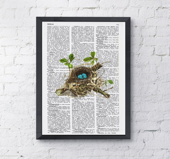 Robin Bird nest 2 print on Book page  Mixed media  art dictionary page printed ANI052