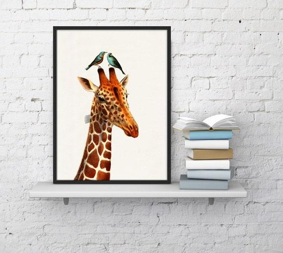 Spring Sale Honeymoon Giraffe collage Print- Love birds art- Love wall art- Wedding gift art Nursery Art and collectibles  WAN061