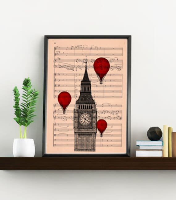 Spring Sale Big ben London wall art- Music sheet art, England art print, Wall decor music sheet art, music sheet , London art MP09