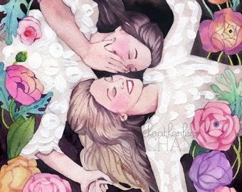 Sisters Art - Best Friends Art - Watercolor Painting Print