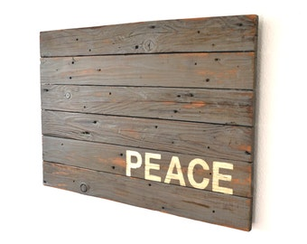 Peace Sign Reclaimed Wood Art Large Wall Hanging Statement Piece