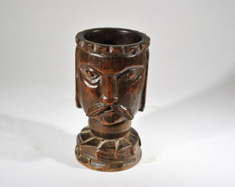 Folk Art Carved Medieval Knight King Cup Candle Holder