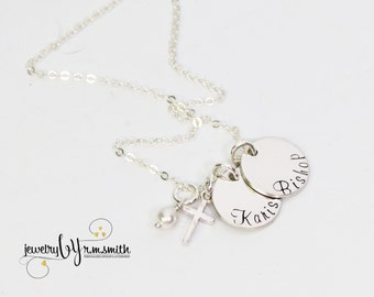Personalized Necklace with Cross - Two Names - Mother - Gandma - Godmother Gift - Nana - Friends - Kids Names - Twins - Couples - Faith