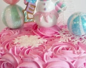 Pink Ombre Rosette Fake Cake Photo Prop with Noel Pink Snow Girl, Snowflakes, White Bottle B