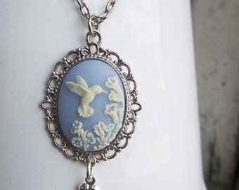 Bird Blue Cameo Hummingbird Necklace Woman Mom Girlfriend Aunt Sister Gift Teen Best Friend Nature Lover Pale Baby Blue Pretty Present
