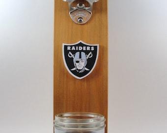 CUSTOM wall mount stainless steel bottle opener your favorite team logo cedar mason jar cap catcher