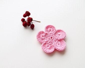 Crochet Flower Appliques, GIANT Flower, Light Soft Pink Crochet Flower Motif, Pale Pink PALM SIZED Bloom, Set of 3