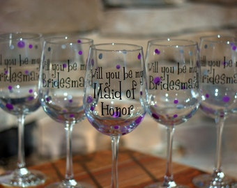 Personalized Bridesmaid Gift. Will you be my Bridesmaid gift.  5 Bridesmaid proposal glasses. How to ask your Bridesmaids. Asking Bridesmaid
