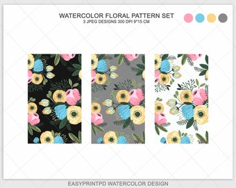 Watercolor Floral Pattern, Instant Download Watercolor Flower Design, Iphone Pattern, Phone Pattern, Handpainted Background, Digital Paper