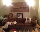 Original 70s Vintage Warren Platner for Steelcase Leather Fiberglass Lucite Couch Sofa