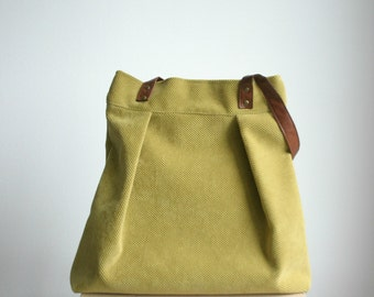Large Tote Mustard Yellow Vegan leather straps Summer Autumn Handbag Every day bag