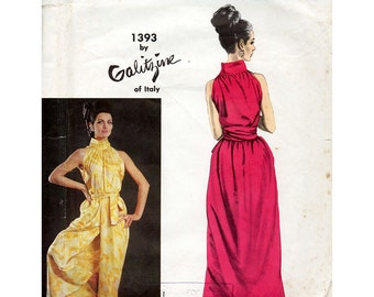 1960s Galitzine Halter & Culotte Pattern Vogue Couturier Design 1393 Wrap Top and Skirt Vintage Sewing Pattern Bust 34